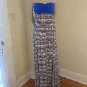 Tribal Print Bebe Strapless Maxi Dress; XS